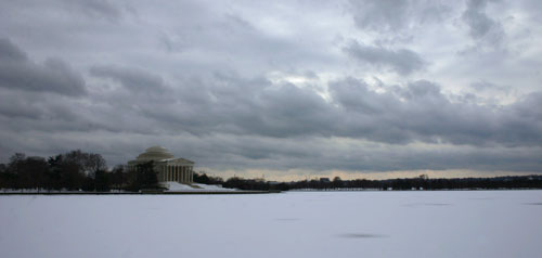 frozen Tidal Basin in Washington DC